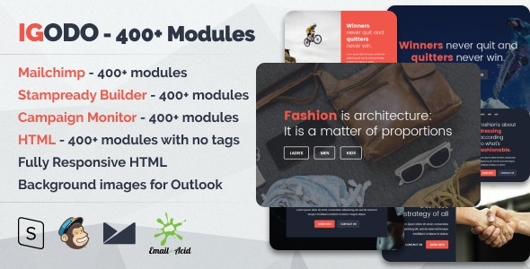 Igodo v1.0.1 - Multipurpose Email Set with 400+ Modules + MailChimp Editor + StampReady + Online Builder preview image