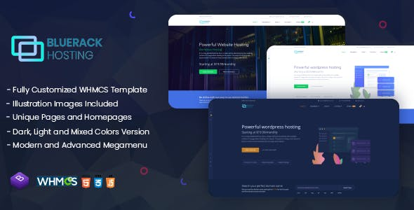 Bluerack v1.0 - Modern and Professional Hosting Template with WHMCS preview image