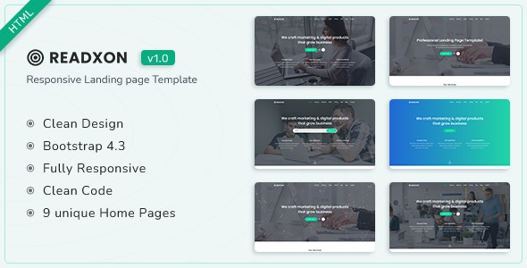 Readxon v1.0 - Landing Page Template preview image