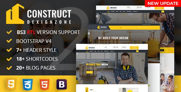ConstructZilla v1.0 - Construction, Renovation & Building Bootstrap 4 Template With RTL Ready preview image