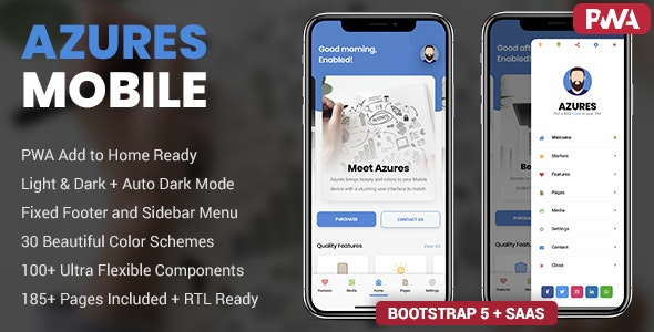 Azures v1.0 - Mobile Template & PWA preview image