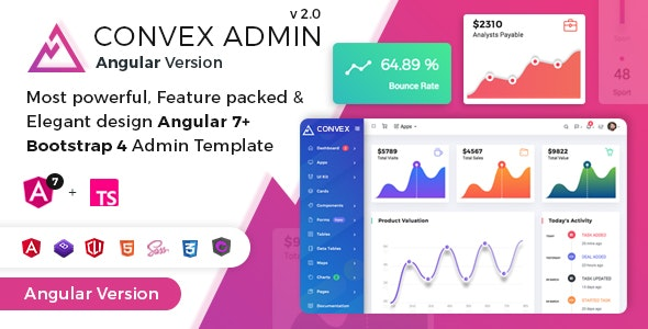 Convex - Angular Bootstrap Admin Dashboard Template preview image