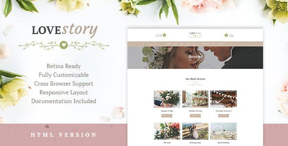Love Story - Wedding and Event Planner Site Template preview image