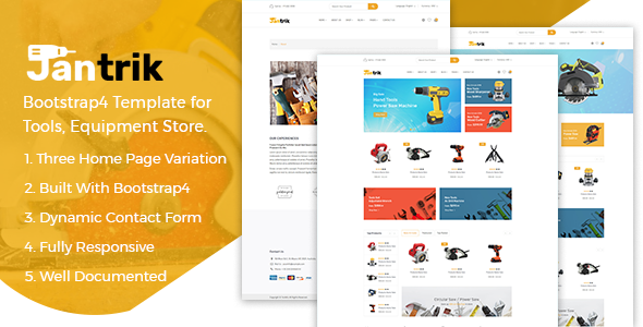 Jantrik v1.1 - Tool, Equipment Store eCommerce HTML Template preview image