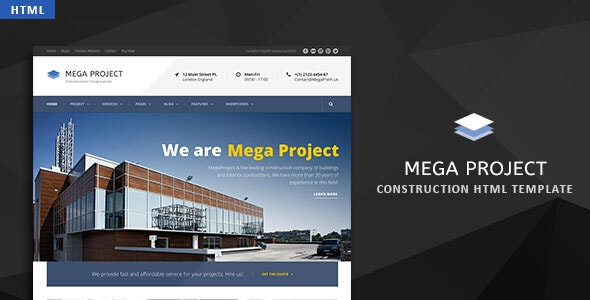 Mega Project v1.0 - Construction HTML Template preview image