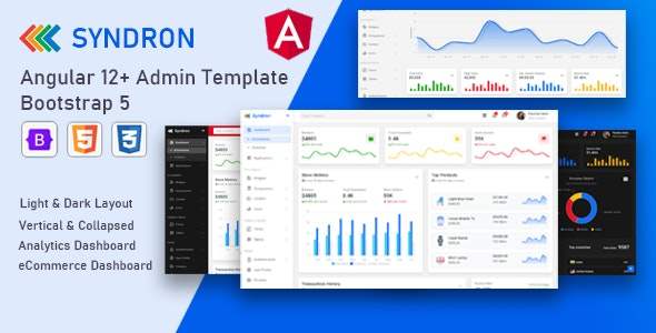 Syndron v1.0 - Angular 12+ Bootstrap 5 Admin Template preview image