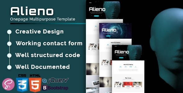 Alieno v1.0 - Onepage Multipurpose Template preview image