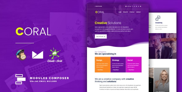 Coral v1.0 - Responsive Email for Agencies, Startups & Creative Teams with Online Builder preview image