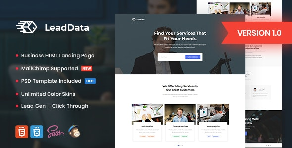 LeadData v1.0 - Lead Generation HTML Landing Page Template preview image