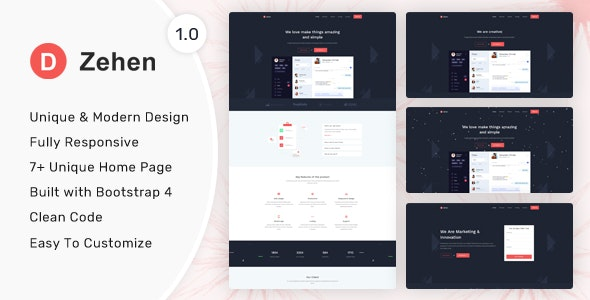Zehen v1.0.0 - Landing Page Template preview image