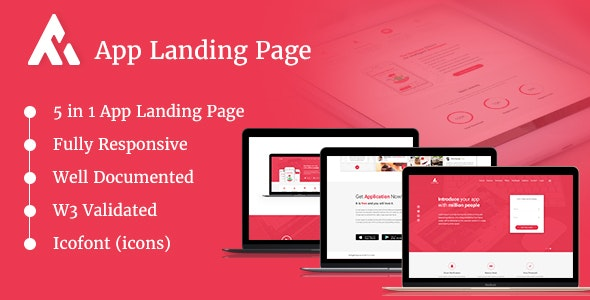AppRaxx v2.0 - 5 in 1 App Landing Page preview image