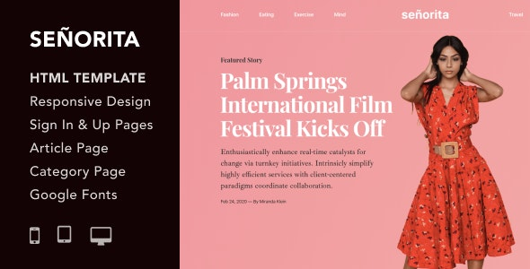 Senorita v1.0 - Magazine and Blog HTML5 Responsive Template preview image