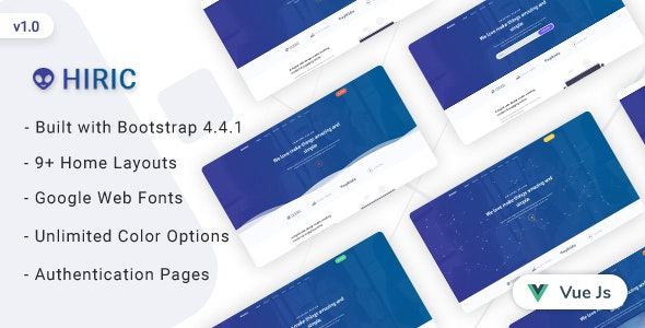 Hiric v1.0 - VueJs Landing Page Template preview image