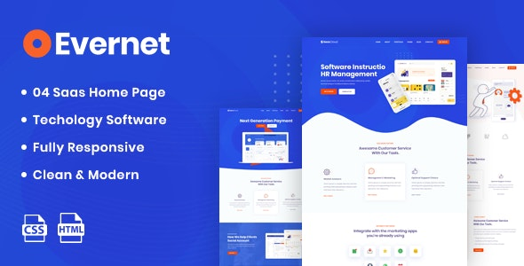 Evernet v1.0 - HTML5 Template for Software, Startup & Agency preview image