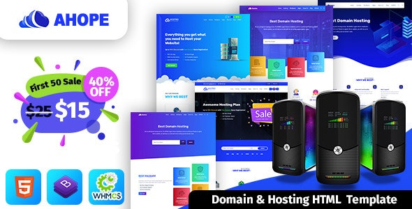 Ahope v1.0 - Hosting Template With WHMCS preview image