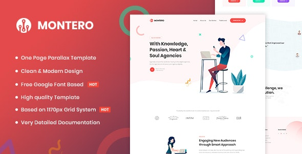 Montero v1.0 - One Page Parallax HTML5 Template preview image