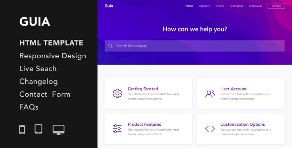 Guia v1.0 - Helpdesk and Documentation HTML5 Responsive Template preview image