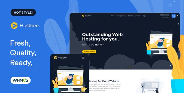 Hustbee - Hosting HTML & WHMCS Template - Updated preview image