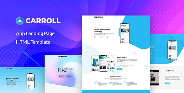Carroll v1.0 - App Landing Page HTML Template preview image