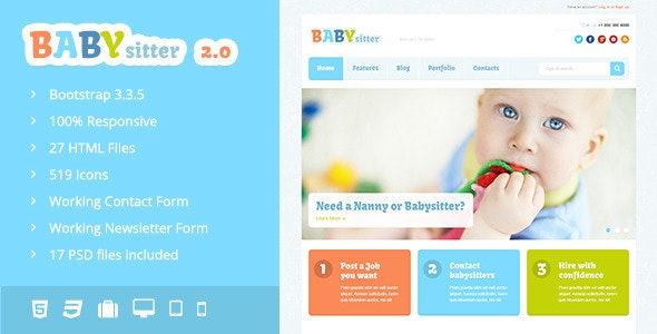 Babysitter v2.0 - Responsive HTML Template preview image