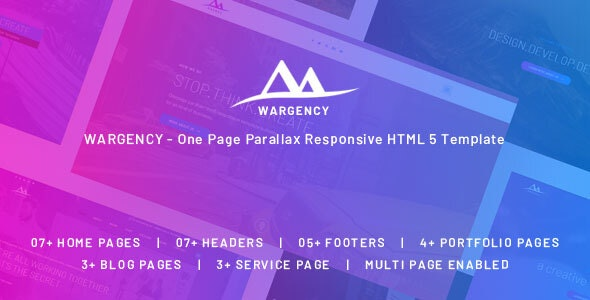 Wargency v1.0 - Onepage Creative Agency Responsive HTML5 Template preview image