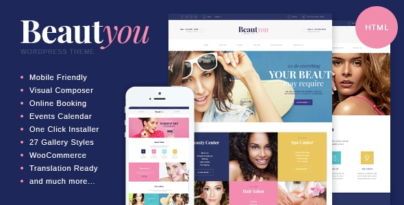 Beautyou v1.0 - Beauty, Hair & Spa Salon HTML Template preview image