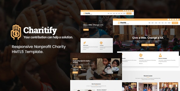 Charitify v1.0 - NGO/Charity/Fundraising HTML Template preview image