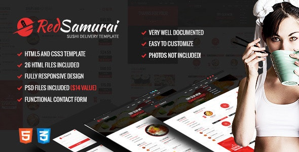Red Samurai - HTML5 and CSS3 Responsive Template - updated preview image