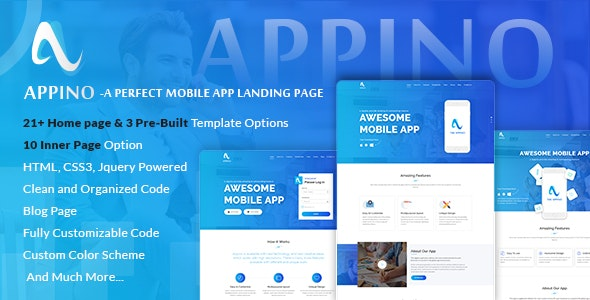 APPINO v2.5 - A Perfect Mobile App Landing Page preview image