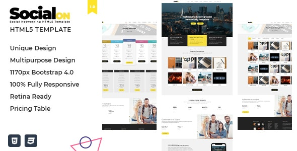 Social Net v1.0 - Corporate Networking Connection HTML5 Template preview image