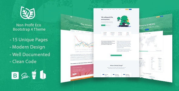 Leaf v1.2 - Non Profit Environmental Bootstrap Theme preview image
