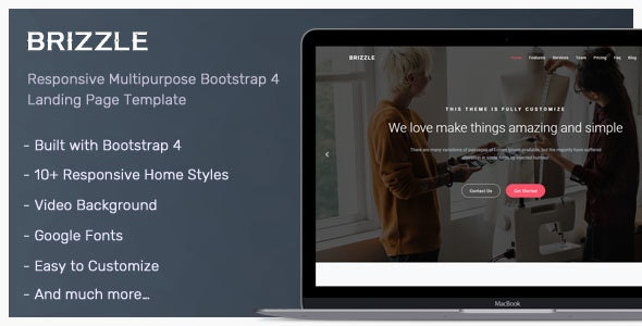 Brizzle v1.0 - Responsive Bootstrap 4 Landing Page Template preview image