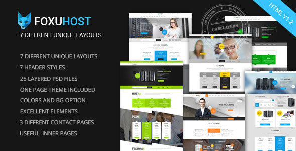 Foxuhost v1.2 - Web Hosting, Responsive HTML5 Template preview image