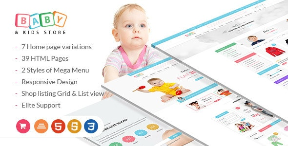 Baby & Kids Store - eCommerce HTML Template with RTL Package preview image