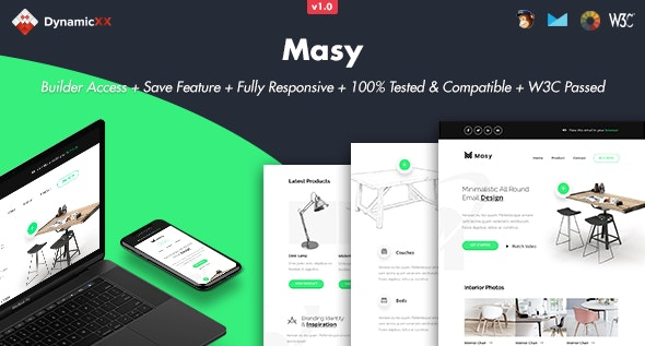 Masy v1.0 - Responsive Email + Online Template Builder preview image