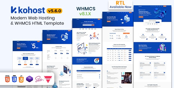 Kohost v5.9.0 - Modern Web Hosting & WHMCS Template preview image