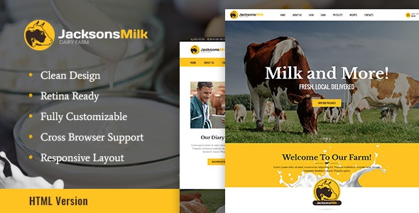 Dairy Farm & Eco Products HTML Template v1.0 preview image