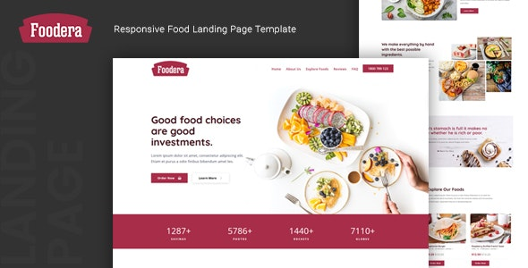 Foodera v1.0 - Responsive Food Landing Page Template preview image