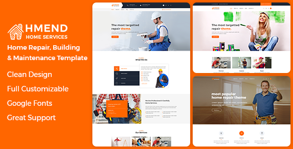 Hmend - Home Maintenance, Repair Service HTML Template preview image