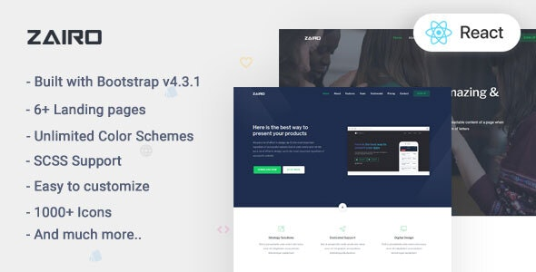 Zairo v1.0 - React Landing Page Template preview image
