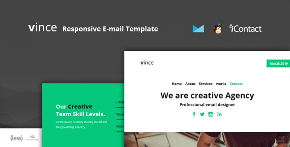 Vince Mail v1.0 - Responsive E-mail Template + Online Access preview image