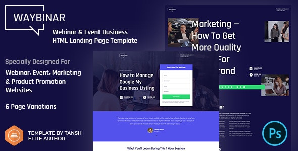 Waybinar v1.0 - Webinar & Event Business HTML Landing Page Template preview image