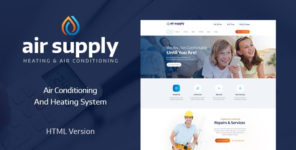 AirSupply v1.0 - Air Conditioning and Heating Services Site Template preview image