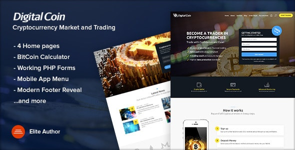 Digital Coin v1.1 - Cryptocurrency Marketing and Trading Site Template preview image