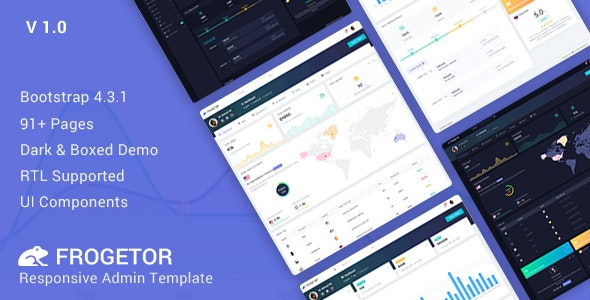 Frogetor v1.0 - Responsive Admin Dashboard Template preview image