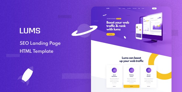 Lums v1.0 - SEO Landing HTML Template preview image