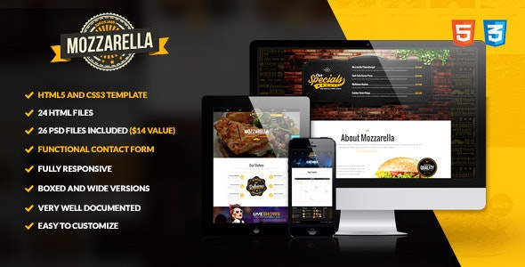 Mozzarella - HTML5 and CSS3 Cafe Bar Template preview image