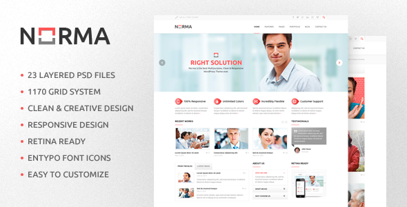 NORMA v1.1 - Clean & Responsive HTML Theme preview image