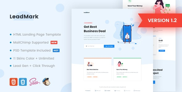 LeadMark v1.2 - Business HTML Landing Page Template preview image