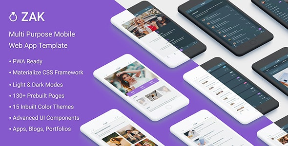 Zak v1.0 - Multi Purpose Mobile Web App template (PWA) Product Image